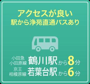 アクセスが良い 駅から浄苑直通バスあり 小田急小田原線鶴川駅から8分 京王相模原線 若葉台駅から6分